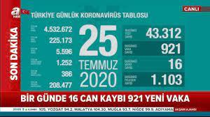 A Haber - 25 Temmuz 2020 Türkiye Günlük Koronavirüs Tablosu | Fa
