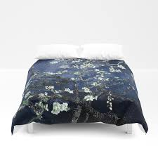 vincent van gogh almond blossoms dark blue duvet cover