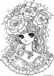 Small Picture Print adult back to childhood manga girl flowers coloring pages