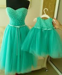 Com Buy Mint Green Pearls Mother And Daughter Dresses Tea Length