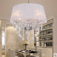 fabric shade led modern k9 crystal chandeliers 50cm 4 e14 led bulb crystal chandelier light pendant lamp white beige pink red black shade dining room