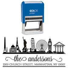 Stamp Design Custom Return Address Stamp Travel Lover Wonders Of World Self Inking Rubber Stamp Design By Printtoo