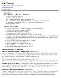 Objective For High School Resumes Example Resume For High School Studentsollege Templates