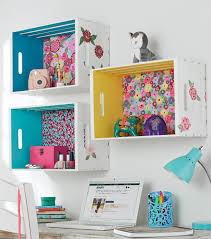 Diy Organization Crate Shelf With Fabric Back And Painted Sides Diy Organization