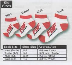 Youth Sock Size Chart Shows Infant Bootie Shoe Size 0 3 Age 0 9 Mos Toddler Sock