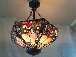 antique stained glass chandelier with inverted shade kitchen lighting