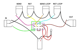 wiring diagram help amp fx loop switcher here s the diagram be someone can point out an error or tell me that this won t work the way i have it wired i m using a dual color led for status as