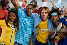 sports fans cheering. multi-ethnic sports fans cheering : stock photo i
