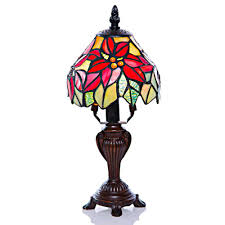 h multi colored stained glass table lamp with poinsettia