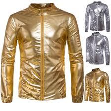 solid color zipper jackets harem women men uni gold silver shiny jacket hip hop night club performance wear jacket t170710 jackets in style jean