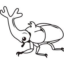 動物 虫カブトムシモノクロ 無料イラストpowerpoint
