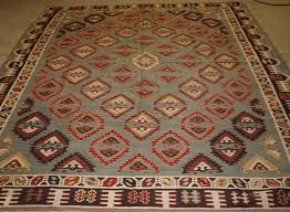 antique turkish sarkoy kilim rug rare design on soft powder blue ground circa 1900