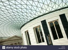 The modern glass roof of the Great Hall in the British Museum, London  England UK