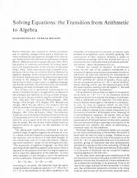solving equations the transition from arithmetic to algebra pdf available