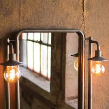 industrial modern lighting. Industrial Modern Mirror With Two Lamps Lighting