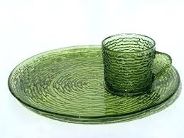 2 vintage green glass candy dishes with handles and starburst pattern dessert
