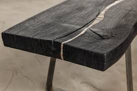 burnt furniture Traverse Bench close up by Suzanne Rippe