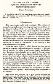 writing the the market for lemons a personal interpretive essay the lemons paper when it was published in the quarterly journal of economics in 1970 copyright © quarterly journal of economics