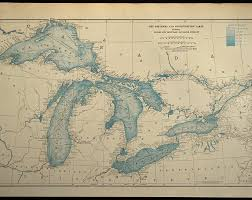 Great Lakes Navigation Charts Great Lakes Map Nautical Map Nautical Chart Map Art