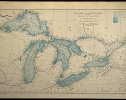 Great Lakes Map Nautical Map Nautical Chart Map Art
