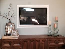 Floating Shelves Around Tv Three Floating White Wooden Shelves On Grey Wall Theme Of Pleasing