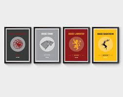 Game Of Thrones Stark House Crest Wooden Plaque House stark print Etsy 57