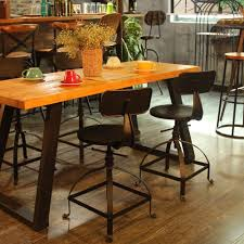 Industrial Style Metal Bar Stool Ajustable Height Swivel Kitchen Dining Chair W Backrest Coffee Chair Cafe Bar Home Furniture