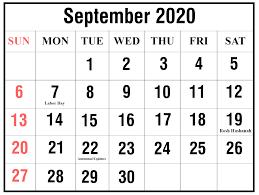 September 2020 Calendar Printable Ko Fi Where