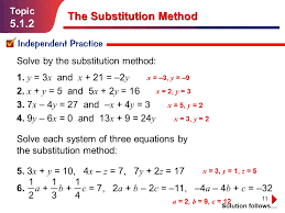11 topic 5 1 2 independent practice solution follows the substitution method solve by the