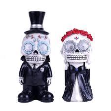 Solar Skeleton Lights Mexican Day Of The Dead Sugar Skull With Solar Lights Groom