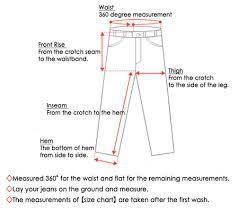 Jean Waist Size Chart Sizing Guide Kojima Genes X Sf