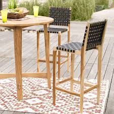 decorating wonderful outdoor bar furniture 22 v2870 teak and recycled rubber stool set of 2 1