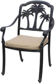 tree seats garden furniture. Exellent Seats PALM TREE ALUMINUM OUTDOOR PATIO DINING CHAIR WITH SEAT CUSHION  ANTIQUE  BRONZE Intended Tree Seats Garden Furniture