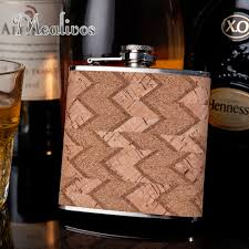 <b>Hot selling</b> 6oz wooden wrapped 304# <b>stainless steel</b> hip flask ...