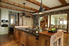 cottage pendant lighting. Wonderful Pendant Classic Kitchen Island Country Wood Table Stainless Steel Faucet Sink  Granite Countertop Brick Wall Pendant Lights Oven Wooden Floor White Chair Chandeliers  On Cottage Lighting S