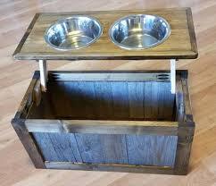 upcycled pallet raised dog feeder