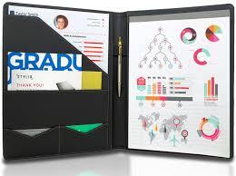 Resume Portfolio Folder BLACK Leather Matte Padfolio Resume Legal Document Organizer Folder 1