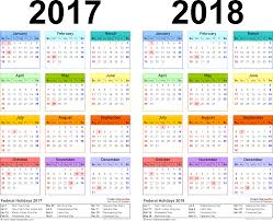 template 2 pdf template for two year calendar 2017 2018 landscape orientation