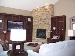 ... Excellent Home Interior Decoration With Stone Corner Fireplace :  Excellent Picture Of Living Room Decoration Using ...