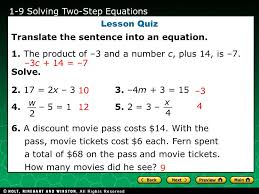 holt ca course 2 1 1 evaluating algebraic expressions 1 9 solving two