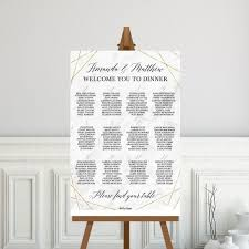 Seating Chart Wedding Sign Marble And Gold Geometric Wedding Seating Chart Sign