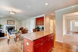 Kitchen Room With Bright Cherry Wood Cabinets Dining Area With