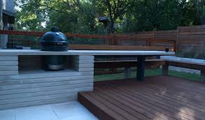 Big Green Egg Nestled In A Modern Lueders Limestone Counter - Outdoor kitchen austin