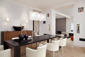 modern dining room lighting idea with unique white shade rectangle chandelier over rectangular black dining table and modern white dining chairs
