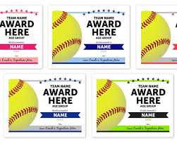 Online Template Softball Award Certificates Instant Download Printable Any Team Colors