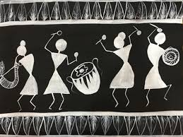 Black Chart Paper Warli Painting On Black Chart Paper Art_4320_33886 Handpainted Art Painting 20in X 18in
