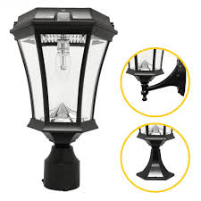 gama sonic victorian bulb series single black integrated led outdoor solar lamp with 3 mounting