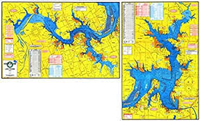 Topographical Fishing Map Of Lake Texoma With Gps Hotspots