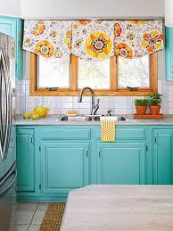 Subway Tile Backsplash. Turquoise Kitchen CabinetsAqua KitchenTeal Kitchen  CurtainsColorful ...