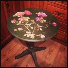 floral decoupage furniture. Gorgeous Occasional Table In Annie Sloan Antibes Green \u0026 Graphite With Faux Marble Finish. Floral. Decoupage Floral Furniture